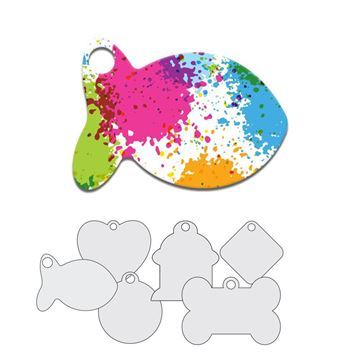 Picture of Colorful Paint Splatters Pet Tag