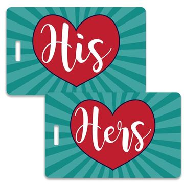 Picture of Hearts His and Hers Couples Luggage Tag