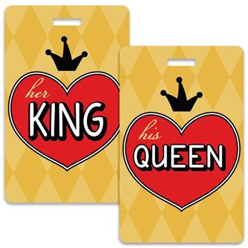 Picture of King & Queen Hearts Couples Luggage Tag