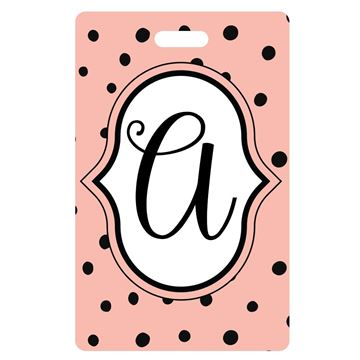 Picture of Pink with Black Dots Monogram Luggage Tags