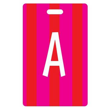 Picture of Pink Stripes Design Monogram Luggage Tag