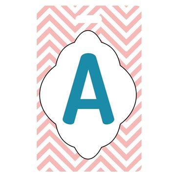 Picture of Pin Stripes Design Monogram Luggage Tag