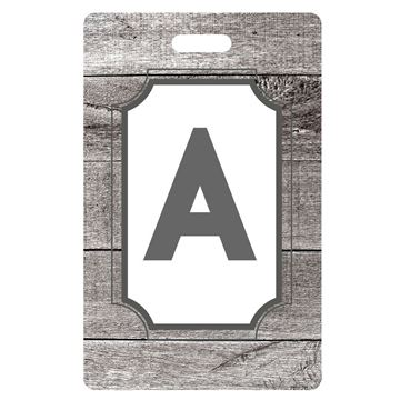 Picture of Gray Planks Design Monogram Luggage Tag