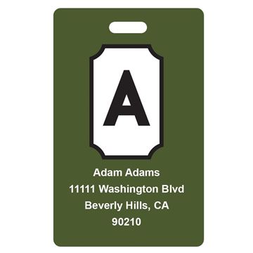 Picture of Army Green Design Monogram Luggage Tags