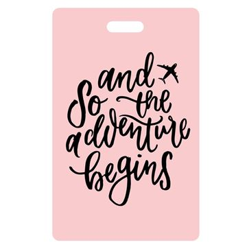 Picture of And So the Adventure Begins Pink Luggage Tags
