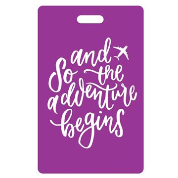 Picture of And So the Adventure Begins Purple Luggage Tags